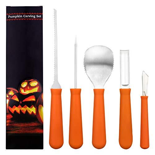 �rbis Carving Tool Kit - Heavy Duty Edelstahl Kürbis Tools Crafted (Plus 10 Pumpkin Carving Pattern) Für Effizienz beim Carven Ihres Kürbis, Jack-O-Laternen - Schnitte, Schaufeln, Schaber, Sägen, Loops ()