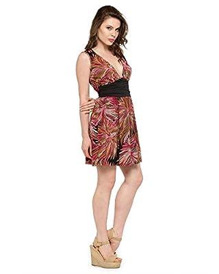 N-Gal Summer Waist Belt Printed Beach Dress, NK4140-4