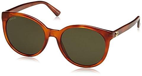 Gucci GG Logo Round Cateye Sunglasses in Light Havana GG 3820/S 056 54 55 Green