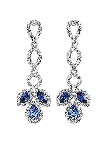 Neoglory Jewellery Swarovski Elément Or Platine Boucles d'Oreilles Pendantes Fleur