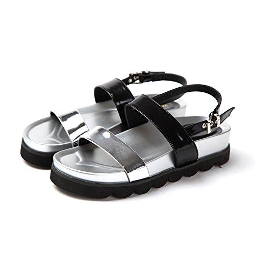 Sandali estivi/Ladies spessa piattaforma peep toe scarpe piatte B