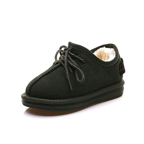 Inverno bassa Snow Boots plus imbottita di velluto caldo cotone pizzo scarpe ArmyGreen