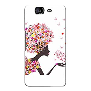 Blue Throat aniametd Girl with Flowers and Butterflies Back Case Cover for Micromax Canvas Knight A350 :: Micromax A350 Canvas Knight
