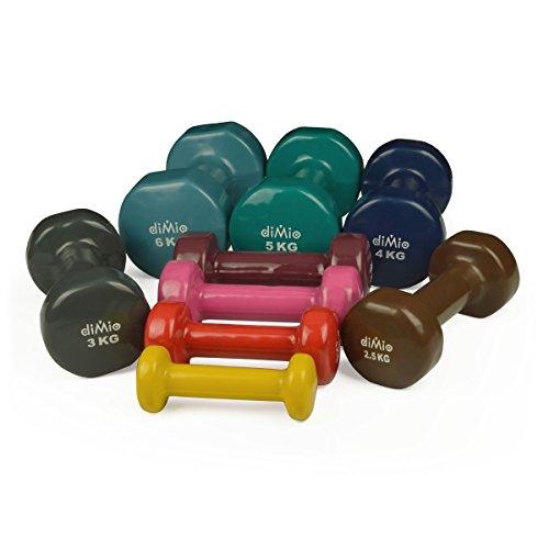 diMio 3,0 kg Vinyl Gymnastik Hanteln im Doppelpack, Soft-Grip, für Fitness, Ausdauertraining und Muskelaufbau