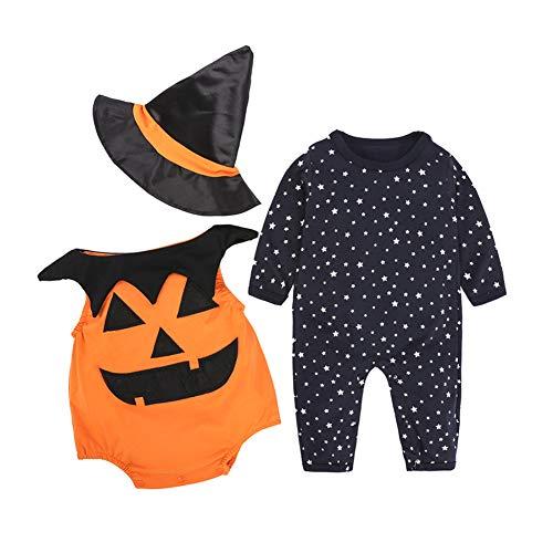 Romote 3pcs Kinder Halloween Kürbis-Kostüm Kreative Lustiger Body Kürbis Printing Outfit Mit Hut Halloween Zubehör Für 9 Bis 12 Month90 - Baby Kürbis Kostüm Muster
