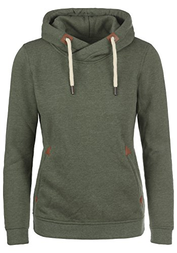 DESIRES VickyHood Damen Damen Hoodie Kapuzenpullover Pullover Mit Kapuze Cross-Over-Kragen Und Fleece-Innenseite, Größe:L, Farbe:Climb Ivy (8785)