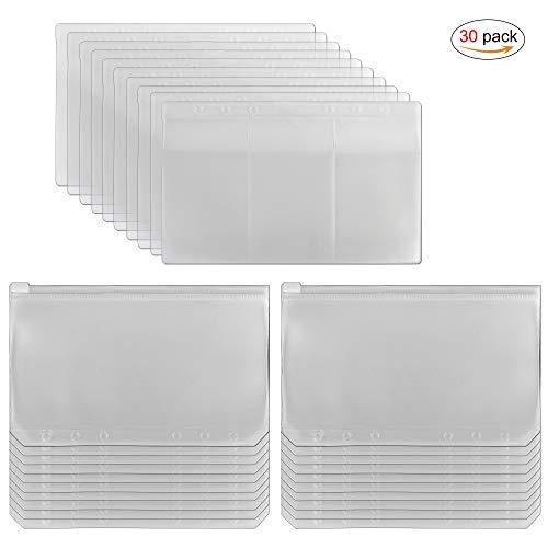 Transparente Plastiktüten mit 6 Löchern für lose Blätter, A6 Notizbuch, Nachfüll-Organizer, 2 Arten inklusive Reißverschlusstasche und 3 Visitenkarten-Aufbewahrungstasche (30 Stück)