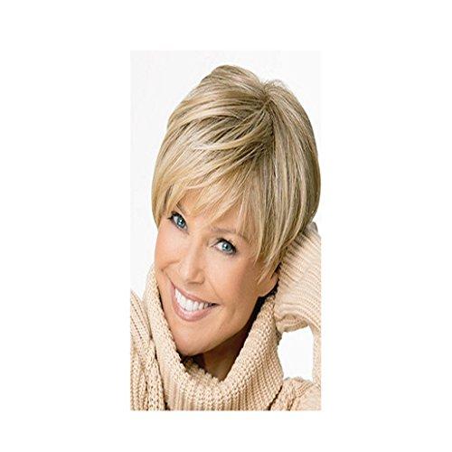 longlovefashion Golden Blonde europäischen kurz brasilianisches Echthaar Perücke für Frauen