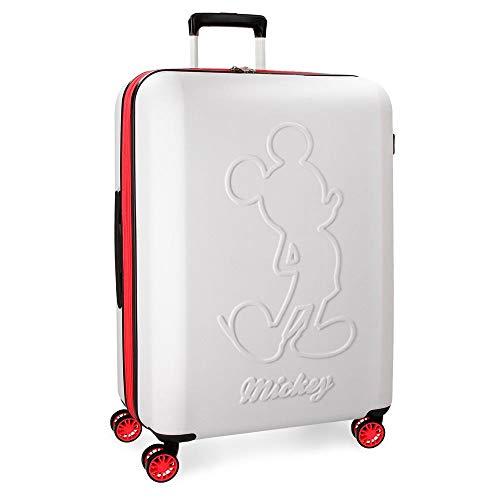 Maleta grande Mickey Colored rígida 68cm blanca