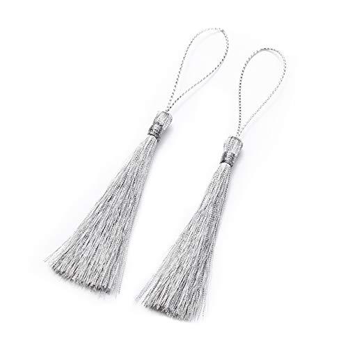 ZALING Quaste Fransen Seidenfaden Lange Quasten Dekorative für Schmuck DIY Chinesischen Knoten Vorhänge Kleidung Silber -