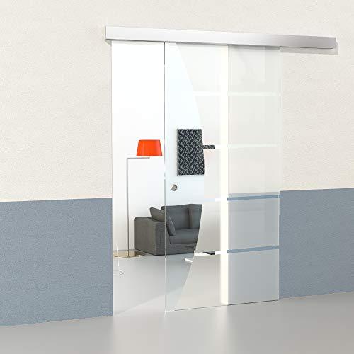 Duradoor Glasschiebetürset im 5-Streifendesign mit Klarfeld 2050 mm x 1050 mm