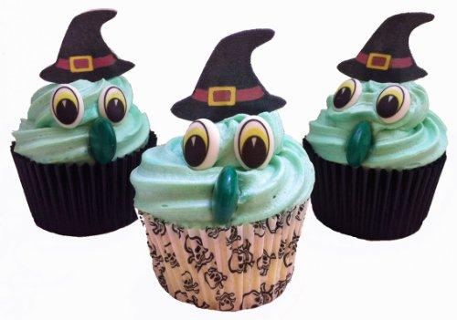 Dekorations-Set zum kreieren von 6 Halloween Hexen-Cupcakes. Beinhaltet 6 Paar Augen, 6 Hexenhuete und 6 lange gruene Schokonasen