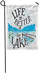 Co5675do Garden Flags Seasonal Flag Funny Flag 12x18 Inches Life is Better at The Lake House Sign in Vintage for Rustic Wall Lakeside Living Cabin Cottage Hand Outdoor Decorative Yard Flag