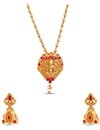 Jewlot Brass Kundan Long Necklace Set For Women And Girls