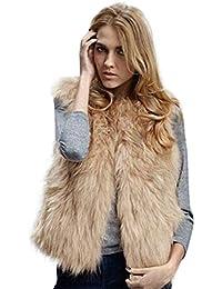 Reaso Femmes Hiver Gilet Sans manches Faux Fur Pull Vêtements d'extérieur Rétro Manteau Casual Crop Top Veste Jacket Blouson Cardigan