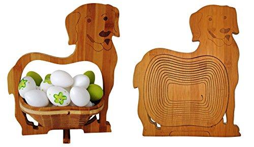 cleanprince PANIER PLIANT >CHIENS< chien BAMBOU 30x30 cm en bois barquette, corbeille de Fruits Bol à dekoschale pliable légume Dessous Plats Pâques Osternest