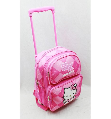 Imagen de small size pink plaid hello kitty rolling   hello kitty maleta con ruedas