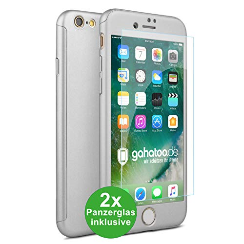 CASYLT iPhone 6 / 6s Hülle [inkl. 2X Panzerglas] 360 Grad Fullbody Premium Handy-Hülle Silber kompatibel für iPhone 6 Komplettschutz Hülle