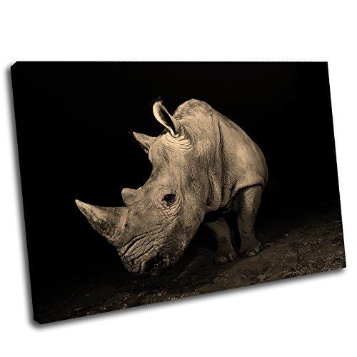 Canvas Culture - Rhino Landscape Canvas Art Print Box Framed Picture 27 Sepia 120 x 80cm - Rhino Canvas Print