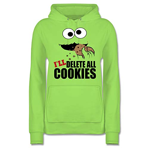 eeks - I Will Delete All Cookies Keks-Monster - XXL - Limonengrün - JH001F - Damen Hoodie ()