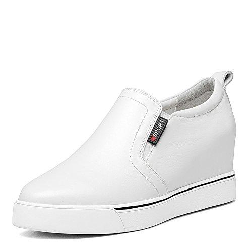 Punta di elevato spessore del fondo della selvaggia scarpa bianca/ piattaforma zeppe scarpe-C Lunghezza piede=23.3CM(9.2Inch)