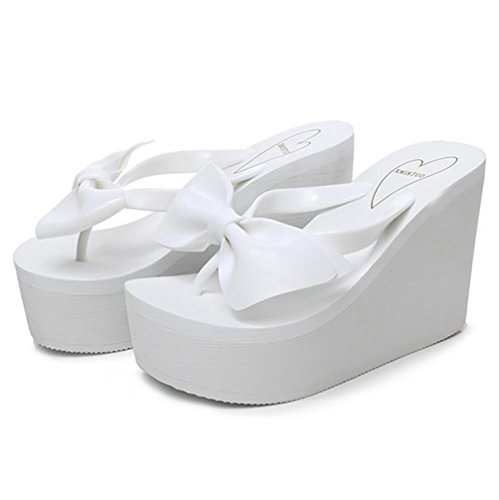 SHANGXIAN Bow Tie Flip Flop con zeppa donna , white , 38/39