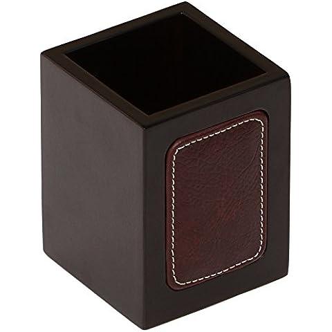 SouvNear oscuro Marrón Coco titular de la pluma hecha a mano en madera con cuero de Trabajo Taza del lápiz Organizador - Oficina / accesorios de escritorio