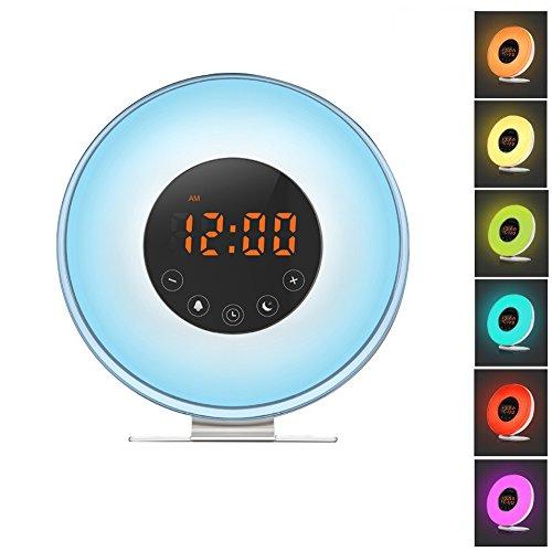 Wecker Wake Up Light Lichtwecker Radiowecker Lichtwecker Sonnenaufgangssimulation LED Licht Wecker mit FM Radio, Sonnenaufgang und Sonnenuntergang-simulation, 7 Farben, Schlummer- Funktion