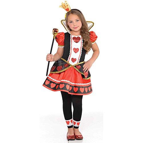 Amscan Herzkönigin Alice im Wunderland Kostüm Kinder - Rote Herzen Prinzessin Kind Kostüm