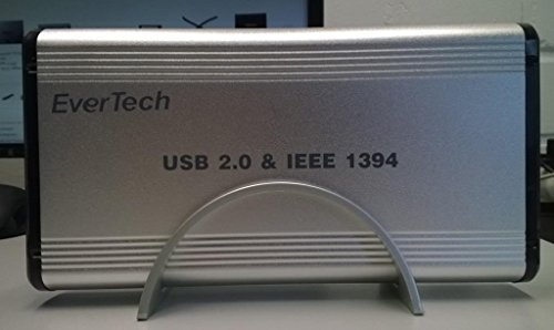 FireWire (IEEE 1394) Externes Festplattengehäuse für 3.5 Zoll IDE HDD mit Netzschalter und USB 2.0-A / 2x FireWire Stecker unterstützen PC / Notebook / Mac (3.5