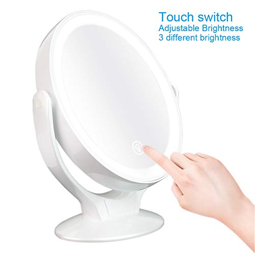 SUNSEATON Espejo de Maquillaje, Espejos con el Aumento 1x / 7X Luz Led, Espejos Cosmetica de 360 Grados Rotación Luz Ajustable, Perfecto Regalo