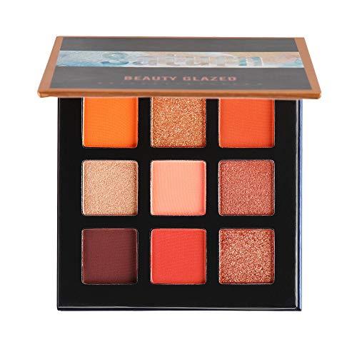Huihong 9 Farben Lidschatten Puder Palette Mattschimmer Glitter Lidschatten Kosmetik Für Den Alltag (B)