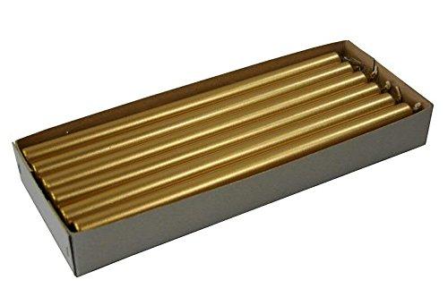 Ø Antike (XL Stabkerzen - Metallic Farbe: Antik Gold - Länge 35cm/Ø 2,2cm - 12 Stück im Pack - Hohe Brenndauer & Einwandfreies Brennverhalten - Altarkerzen/Leuchterkerzen)