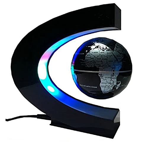 Koiiko® Funny C Shape Magnetic Levitation Floating Globe World Map LED Light Office Table Decorate, Mysteriously Suspended in Air World Map Great Christmas Gift for Fathers Students Teacher - Black