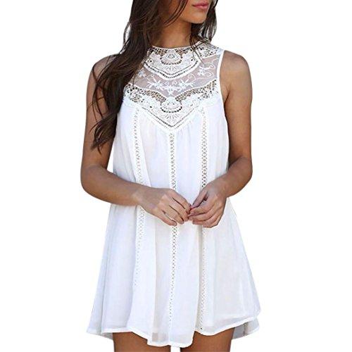 Solid Lace Nähen O-Neck ärmellose Chiffon Minikleid (XXL, Weiß) (Anna Kostüme Für Jugendliche)
