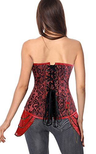 Charmian Women's Steampunk Brocade Steel Boned Underbust Corset with Hip Panels Rot