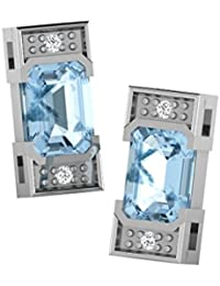 His & Her Diamonds .925 Sterling Silver, Diamond and Aquamarine Stud Earrings