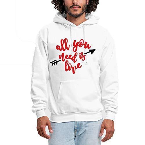 SHENMAHU Men Hooded Sweatshirt All You Need is Love Simple Red Logo - Pullover Hoodie, Classic & Comfortable Kapuzenpulli XXL White