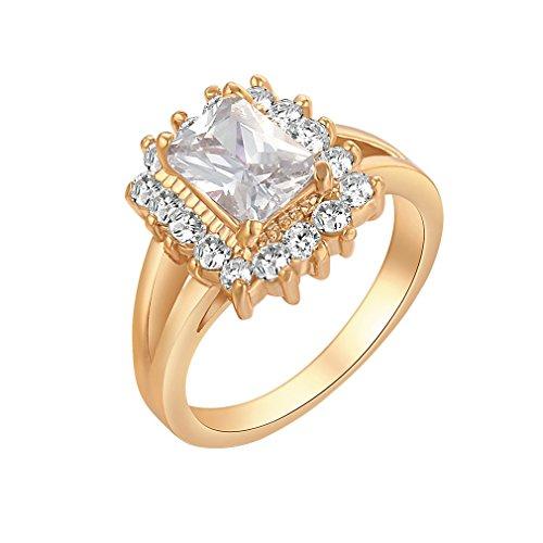Yazilind 18K Elegante quadratische weiße Solitaire Ring mit vielen kleinen Vergolden Reiche Women 6