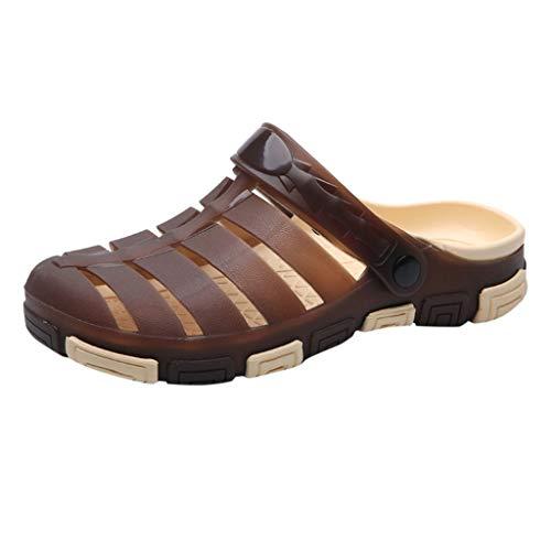 Men's Solid Color Sandals Lightweight Breathable Beach Shoes Non-Slip Shoes