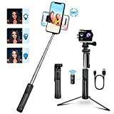 Mpow Selfie Stick Tripod, 3 In 1 Multifunctional Selfie Stick Monopod Tripod Phone Holder with Detachable Bluetooth Remote & Light for iPhone, Android Samsung Galaxy Huawei and GoPro/Small Camera