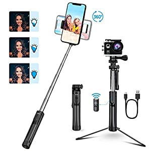 Mpow Selfie Stick, 3 Level Fill Light & All in 1 Portable Selfie Stick Tripod with Bluetooth Remote, Compatible iPhone 11/11 PRO/XS Max/XS/XR/X/8P/7P, Galaxy S20/S10/S9/S8, Gopro/Small Camera, Black