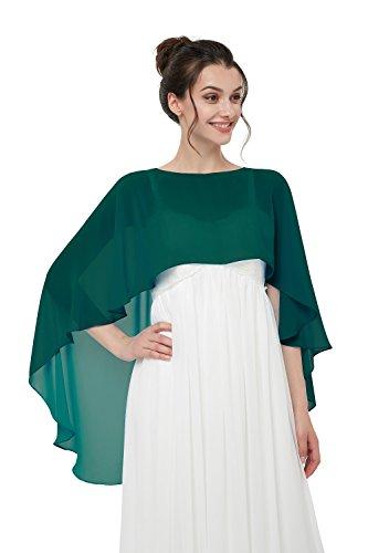 TBdresses Chiffon Braut Hochzeit Capes Wraps Frauen Abendkleid Stola Brautjungfer Schals Braut Wrape (Einheitsgröße, dunkelgrün) -
