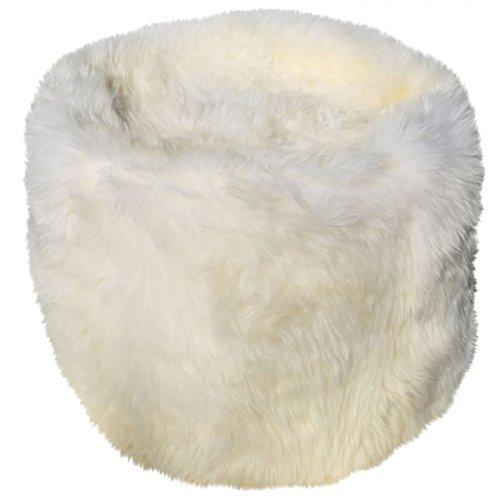 Lammfell - POUF/SITZHOCKER Ø GROß Sitzkissen Sitzhocker Sitzsack exclusiv Farbe Weiß