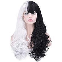 Peluca de mujer, moda europea y americana mitad negra y mitad blanca peluca larga y