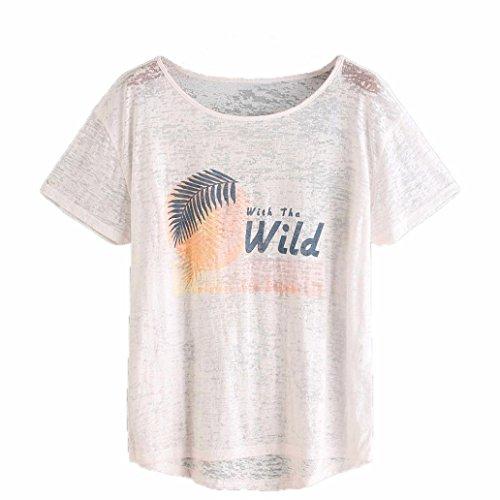 Camicetta sciolta donna Vovotrade T-shirt casuale estate di breve manica bianca