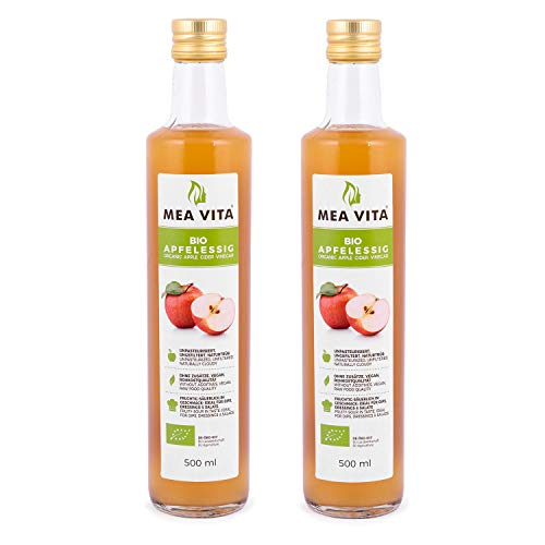 MeaVita Bio Apfelessig, naturtrüb & ungefiltert mit Essigmutter, 2er Pack (2 x 500 ml)