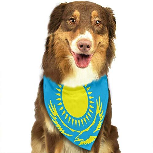 Gxdchfj Pet Scarf Flag of Kazakhstan Dog Bandana Collars Triangle Neckerchief Bibs Scarfs Accessories Pet Saliva Towel -