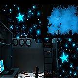 Viahwyt - 100 pegatinas luminosas de estrellas que brillan en la oscuridad, pegatinas de pared 3D fluorescentes, decoración para el hogar, azul, 50PCS 3x3cm/1.19'x1.19'