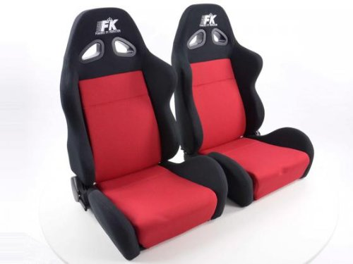 FK Automotive FKRSE019L/019R Sportsitz Autositz Halbschalensitz Set Sport Rennsitz Motorsport-Optik
